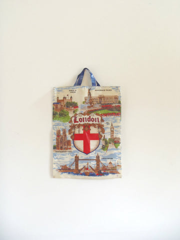 London pattern p.v.c. coated England tourism tote bag