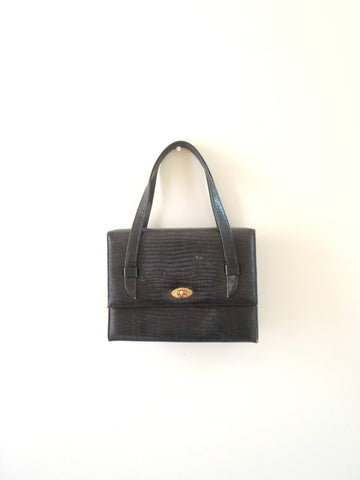 Black small faux crocodile handbag