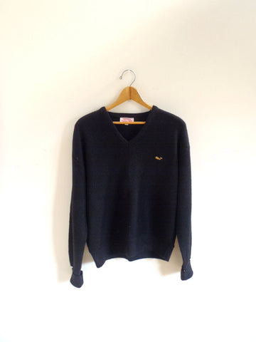 Men's black whale logo V-neck sweater
