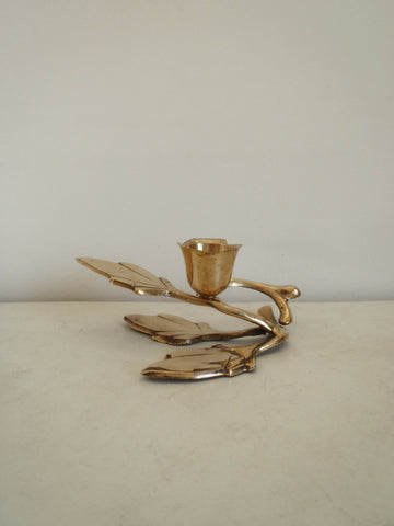 Vintage brass floral candle holder / metal leaf candle stand