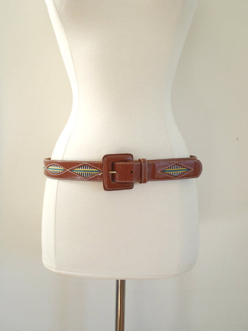 Leather tribal print embroidery belt