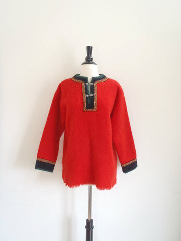 Red wool bohemian wool sweater tunic