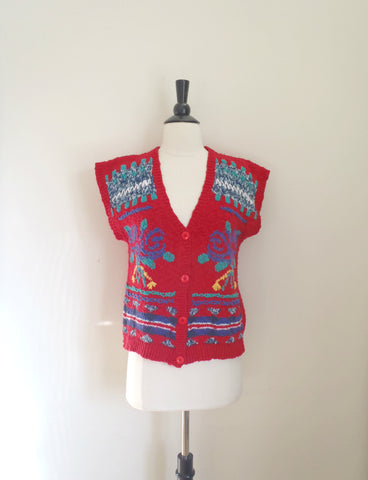 Bright red pattern sweater vest