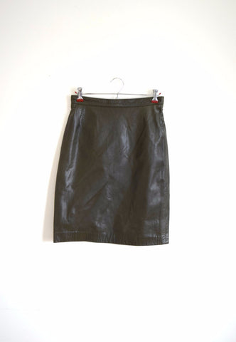 Dark grey leather high waisted mini skirt