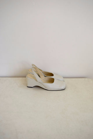 Bisou Bisou white leather slingback shoes