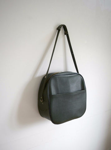 Forest green textured vinyl overnight bag