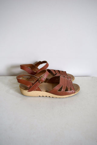 Brown leather retro wedge sandals