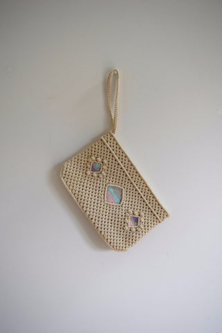 Macrame wristlet with pastel diamond pattern