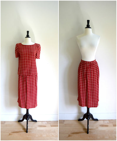 Vintage Pierre Cardin silk blouse and midi skirt set / designer red grid plaid print top and skirt set