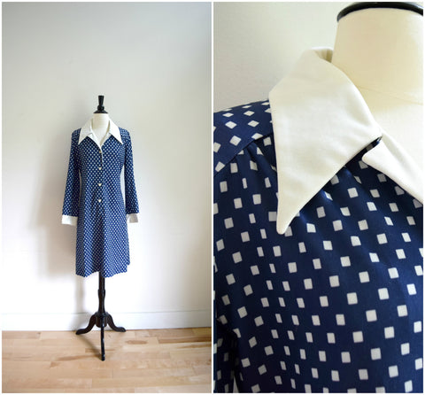 Navy blue and white polka dot retro dress