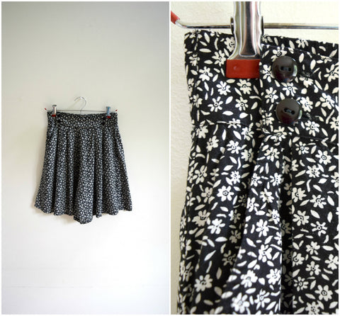 Black and white floral flowy elastic back shorts