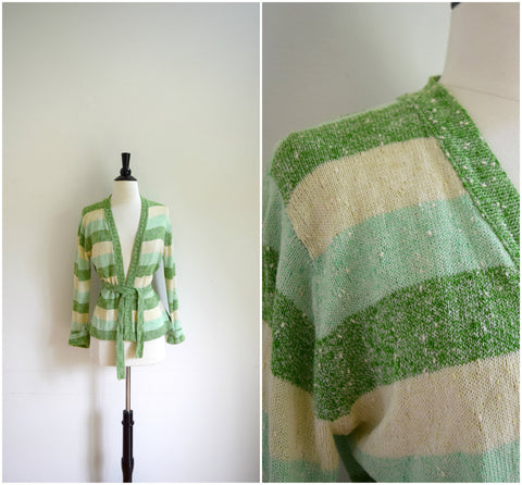 Shades of green wrap shawl sweater