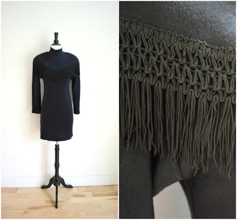 Black fringe detail bodycon dress