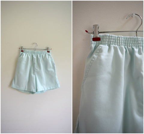 Mint green cotton elastic high waisted shorts