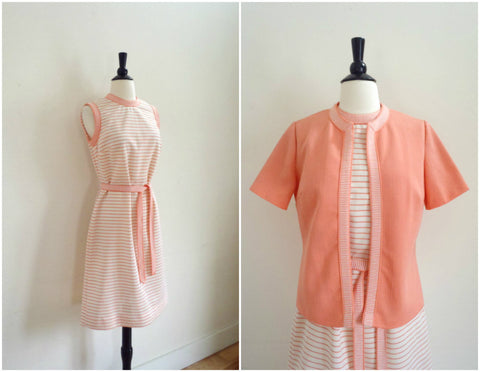 Coral pink and white striped tennis dress and sweater set