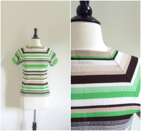 Green striped old school tshirt