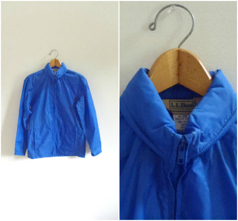 L.L. Bean royal blue rain jacket with zip-in hood