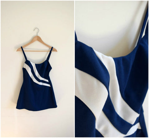 Robby Len navy blue and white one piece bathing suit