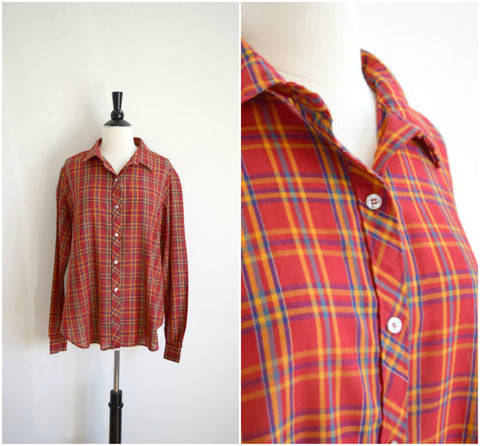 Red plaid button down boyfriend shirt
