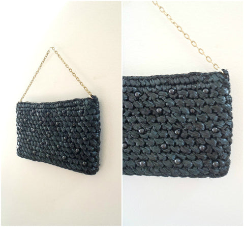 Beaded black straw raffia evening bag with brass chain handle