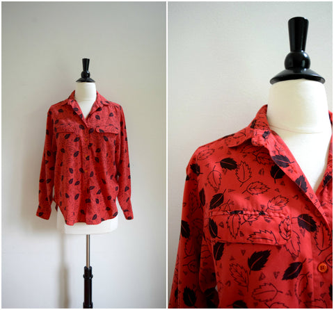 Red leaf print button down blouse