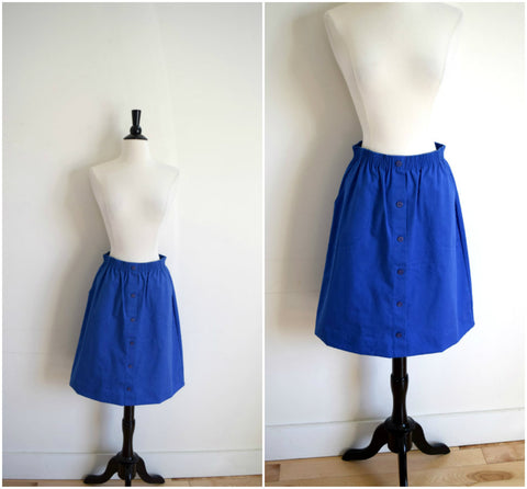 Royal blue button down canvas skirt