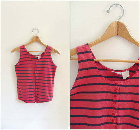 Red striped retro tank