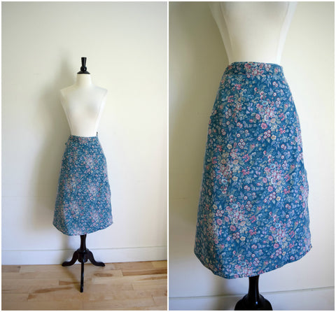 Teal floral cotton wrap midi skirt with a tie bow back