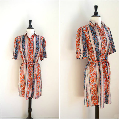 Bohemian red white and blue print shirt dress
