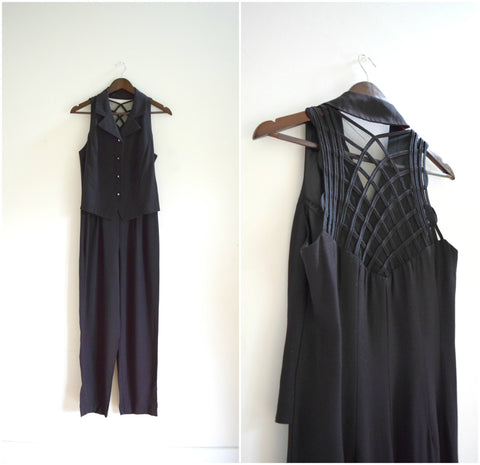 Black crisscross mesh back jumpsuit