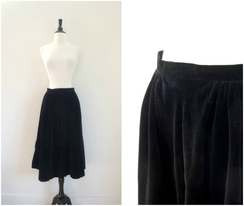 Black velvet full party circle skirt