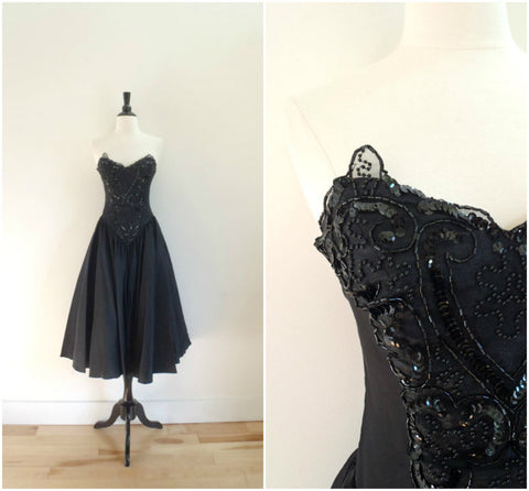 Black sequined lace cocktail dress