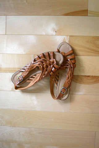 Brown leather strappy sandals