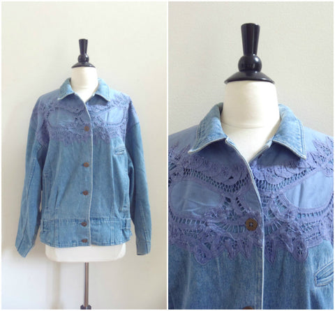 Vintage jean jacket with violet lace detailing / retro denim jacket