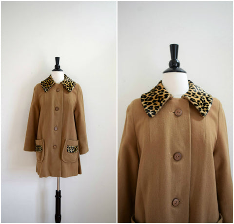 Camel wool swing coat with leopard collar and trim