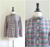 Plaid ruffle detail button down shirt