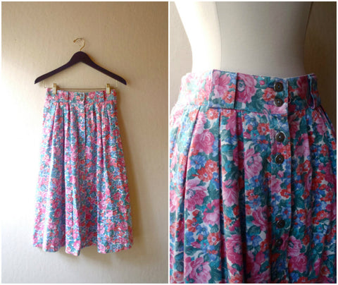 Pink and teal floral highwaisted button front skirt