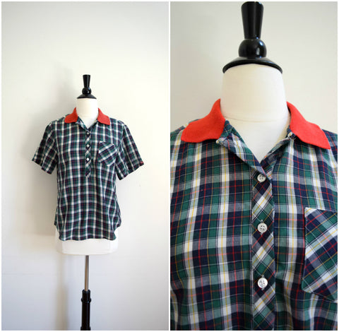 Camp plaid boyfriend button up shirt