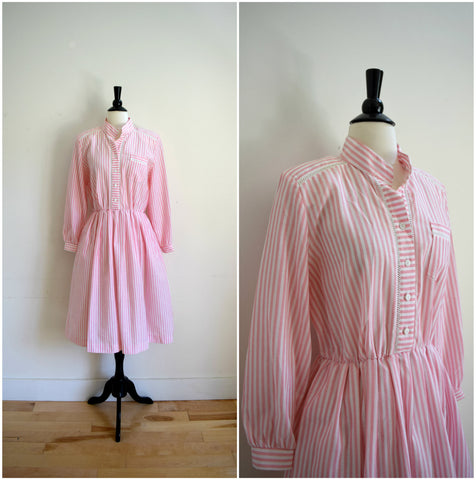 Pink and white vertical stripe shirt dress