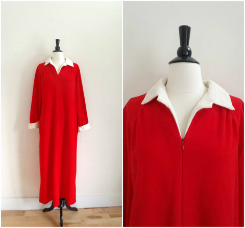 Vanity Fair red velour long robe