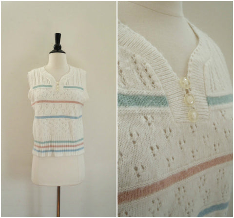 Vintage pastel stripe white sweater vest / sweet knit vest / women's golf top / preppy