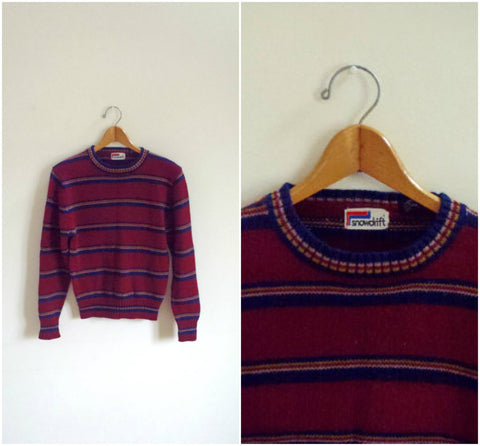 Men's red striped ski sweater