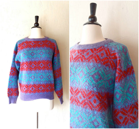 Fair Isle purple wool ski sweater