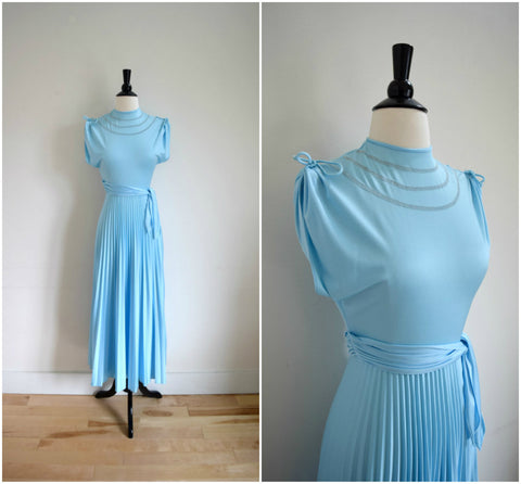 Baby blue cap sleeve accordion pleat gown