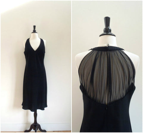 Sheer back little black cocktail dress