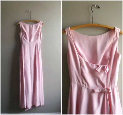 Pink linen boat neck gown with low bow back