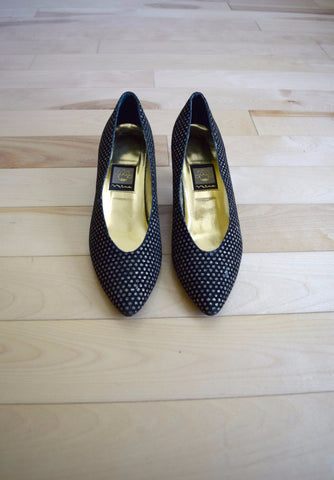 Nina black and gold glitter polka dot heels