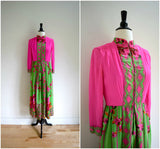 Bohemian pink and green floral print long sleeved silk dress