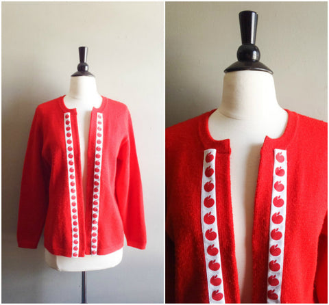 Red apple teacher cardigan sweater