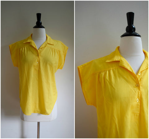 Yellow cap sleeve collared blouse